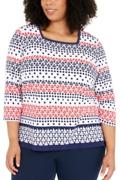 Alfred Dunner Plus Size Ship Shape Square-Neck Top