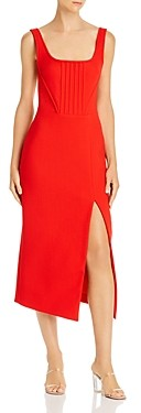 David Koma Virgin Wool Sleeveless Midi Dress