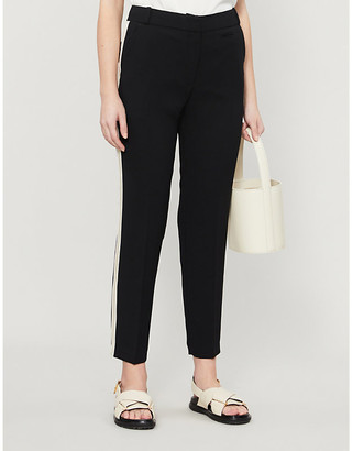 Claudie Pierlot Side-striped slim-fit cropped crepe trousers