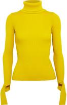 Jacquemus Cutout Ribbed Wool Turtleneck Sweater - Yellow