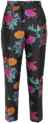 Etro Cropped Floral-jacquard Tapered Pants