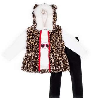 Little Lass Girls 4-6x 3-Piece Faux-Fur Vest Set