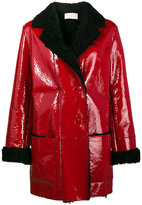 Christopher Kane Patent Leather Coat With Shearling Lining