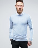 Asos Muscle Fit Merino Wool Sweater In Light Blue