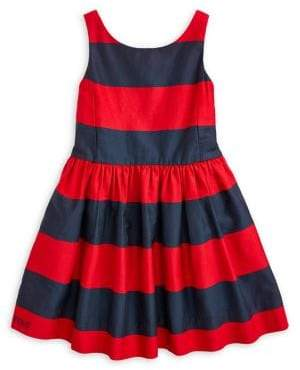 Ralph Lauren Childrenswear Little Girl's Striped Cotton Fit-&-Flare Dress