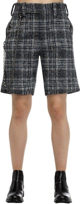 Coach Checked Wool Blend Shorts W /chain