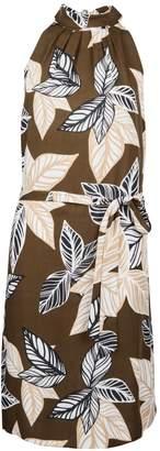 Dorothy Perkins Womens Khaki Tropical Print Tie Shift Dress