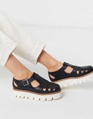 Grenson Ethel black leather snake print mary jane flat buckle fastening shoes