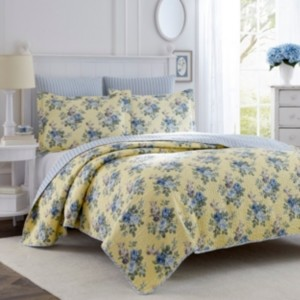 Laura Ashley Twin Linley Yellow Quilt Set Bedding