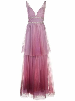 Marchesa Notte Two-Tiered Ombre Gown