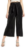 ALL IN FAVOR Plisse Belted High Waist Wide Leg Pants
