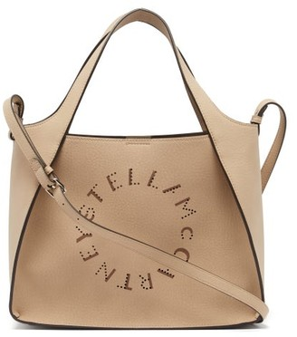 Stella McCartney Stella Perforated-logo Faux-leather Tote Bag - Brown Multi