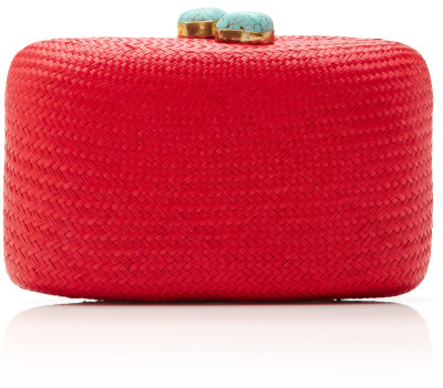 KAYU Hand-Woven Straw Clutch With Turquoise Closure