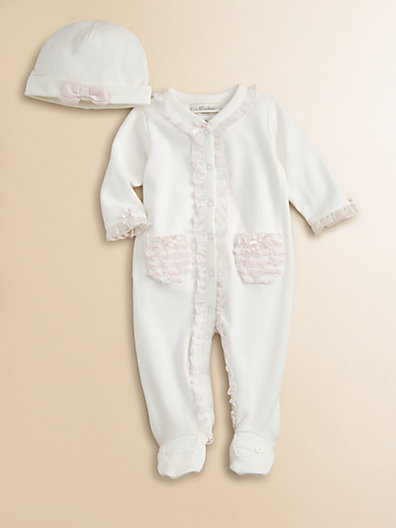 Miniclasix Infant's Ruffle-Trimmed Knit Footie and Hat Set