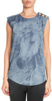 Balmain Sleeveless Horse-Print Cotton Tank Top