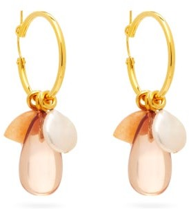 Lizzie Fortunato Ugo Aventurine & Gold-plated Hoop Earrings - Gold