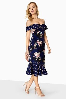 Little Mistress Amber Mixed Floral Bardot Peplum Dress