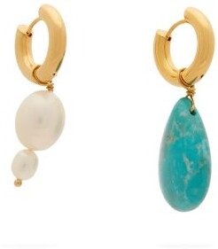 Timeless Pearly - Mismatched Pearl & Turquoise Gold-plated Earrings - Womens - Pearl