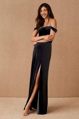Jenny Yoo Issa Velvet Dress By in Blue Size 14