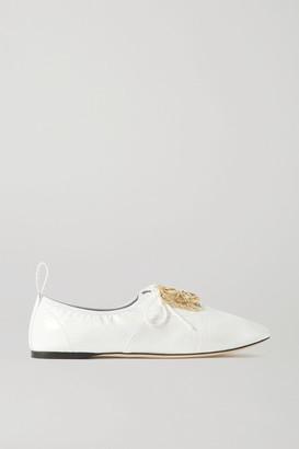 Loewe Logo-embellished Patent-leather Ballet Flats - White