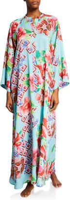 Natori Plus Size Star Blossom Floral-Print Zip-Front Caftan