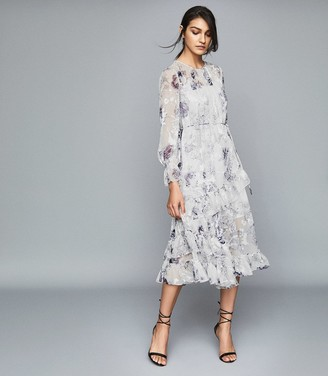 Reiss Annabelle - Floral Printed Midi Dress in Blue/ White