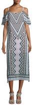 Nanette Lepore Cold-Shoulder Chevron Midi Dress, Natural/Multi