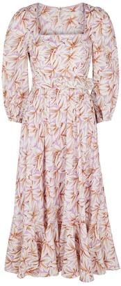 Jonathan Simkhai Ella Floral-print Linen-blend Midi Dress