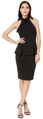 Badgley Mischka Crepe Jersey Peplum (Black) Women's Dress