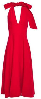 Oscar de la Renta Wool-blend Crepe Halterneck Midi Dress