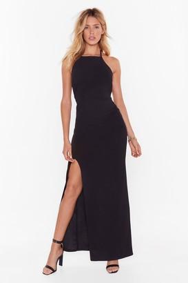 Nasty Gal Womens cross back high neck maxi dress - black - 8