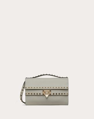 Valentino Rockstud Grainy Calfskin Crossbody Bag Women Opal Grey Calfskin OneSize