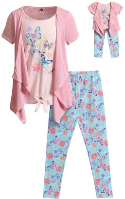 Dollie & Me Girls 4-12 Butterfly Tee, Cardigan, Printed Legging & Doll Outfit Set