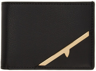 Fendi Black and Gold Corner Bugs Bifold Wallet