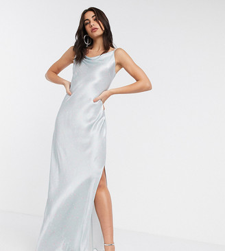Ghost Exclusive Bridesmaid stella floral printed satin cowl neck slip maxi dress with slit in dulcie ditsy