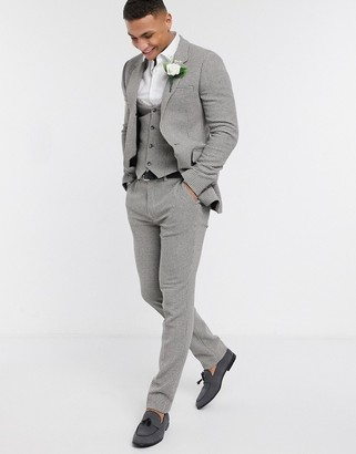 ASOS DESIGN wedding skinny suit jacket in gray wool blend micro houndstooth