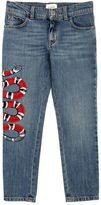 Gucci Snake Embroidered Stretch Denim Jeans