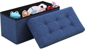 "Ornavo Home Posh Habitat by Ornavo Foldable Linen Tufted Bench Storage Ottoman - 15"" x 30"" x 15"""
