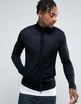 Armani Jeans Slim Fit Zip Through Button Logo Sweater Black