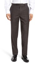 JB Britches Men's Flat Front Plaid Wool Trousers