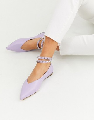Asos DESIGN Lima studded ballet flats in lilac