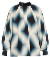 Fendi Neon-print tie-neck silk-georgette blouse
