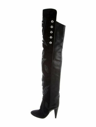Isabel Marant Leather Embroidered Accent Slouch Boots Black