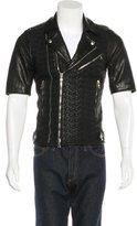 Balmain Lambskin-Trimmed Moto Jacket