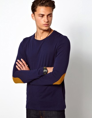 Asos Design ASOS Long Sleeve T-Shirt With Contrast Elbow Patches