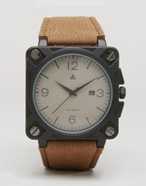 Asos Square Watch With Distressed Finish