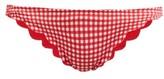 Marysia Swim Broadway Gingham Scallop-edged Bikini Briefs - Womens - Red White