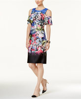 ECI Mixed-Print Cold-Shoulder Ruffled Dress