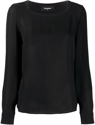 DSQUARED2 Long Sleeve Silk Blouse