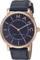 Marc Jacobs Women's 'Roxy' Quartz Stainless Steel and Leather Casual Watch, Color:Blue (Model: MJ1534)